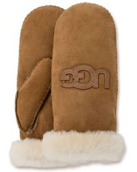 UGG - Heritage Logo Shearling Mittens - Lyst