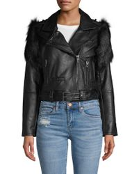 Blank NYC - Faux Fur-trimmed Faux Leather Moto Jacket - Lyst