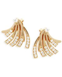 Hueb - 18k Yellow Gold & Diamond Wave Jacket Earrings - Lyst