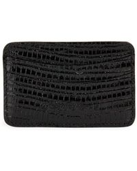 Saks Fifth Avenue - Embossed Lizard Leather Card Case - Lyst