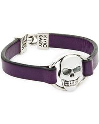 King Baby Studio - Sterling Silver & Leather Skull Bracelet - Lyst
