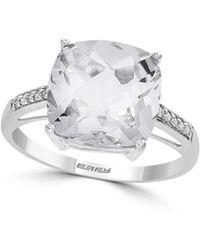 Effy - April 14k White Gold, White Topaz & Diamond Solitaire Ring - Lyst