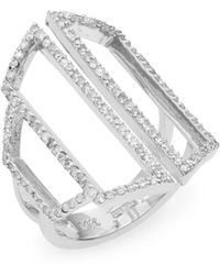 Effy - Diamond Pavé & 14k White Gold Geometric Cutout Ring - Lyst