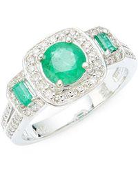 Effy - 14k White Gold, Emerald & Diamond Ring - Lyst
