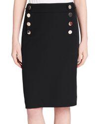 Calvin Klein - Buttoned Pencil Skirt - Lyst