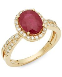 Effy - Diamond, Ruby & 14k Yellow Gold Solitaire Ring - Lyst