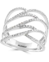 Effy - 14k White Gold And Diamond Cage Ring - Lyst