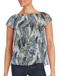 Kensie - Printed Short Sleeve Top - Lyst
