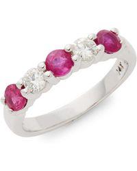 Effy - Diamond Ruby 14k White Gold Ring - Lyst