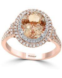 Effy - 14k Rose Gold, Morganite & Diamond Ring - Lyst
