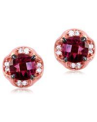 Le Vian - 14k Strawberry Gold, Raspberry Rhodolite And Vanilla Diamond Earrings - Lyst