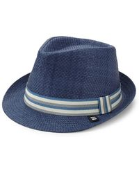 Block Headwear - Stripe Band Straw Trilby - Lyst