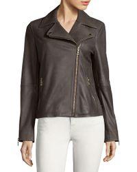 T Tahari - Skylar Leather Biker Jacket - Lyst