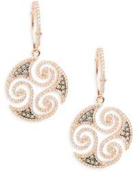 Effy - Diamond, Espresso Diamond & 14k Rose Gold Solid Fill Dangle & Drop Earrings - Lyst