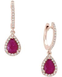 Effy - Amoré Natural Mozambique Ruby, Diamond And 14k Rose Gold Drop Earrings - Lyst