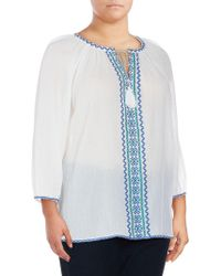 NYDJ - Embroidered Cotton Blouse - Lyst