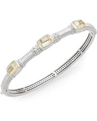 Judith Ripka - White Sapphire & Sterling Silver Tri-stone Bangle Bracelet - Lyst