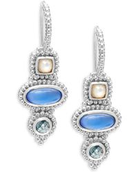 Judith Ripka - Blue Quartz, Green Spinel & Sterling Silver Drop Earrings - Lyst