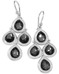 Ippolita - Diamond, Hematite And Sterling Silver Doublet Drop Earrings - Lyst