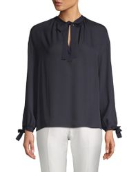 80bd557d699937 Lyst - Vince Tie Front Silk Poet Blouse in White