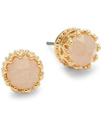 Ava & Aiden - Pink Quartz Crown Stud Earrings - Lyst