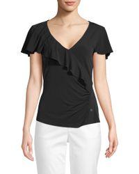 Laundry by Shelli Segal - Short Sleeve V-neck Ruffle Top - Lyst