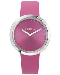 Furla - Valentina Stainless Steel Leather-strap Watch - Lyst