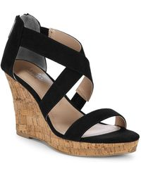Charles David - Crisscross Leather Wedge Sandals - Lyst