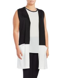 Vince Camuto - Colorblocked Sleeveless Duster Vest - Lyst