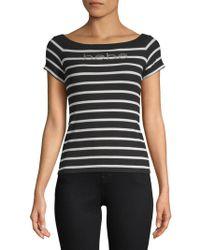 Bebe - Chrissy Stripe Short-sleeve Top - Lyst