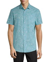Report Collection - Ocean-print Cotton Button-down Shirt - Lyst