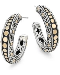 John Hardy - Dot 18k Yellow Gold & Sterling Silver Gypsy Hoop Earrings - Lyst