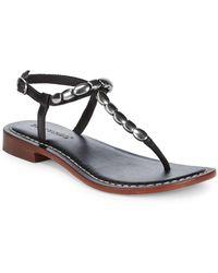 Bernardo - Tristan Leather Silver Bead Sandals - Lyst