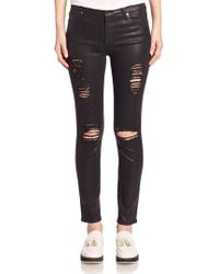 7 For All Mankind - Ankle Skinny Distressed Coated Jeans - Lyst