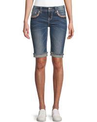 Miss Me - Embroidered Denim Bermuda Shorts - Lyst