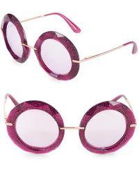 Dolce & Gabbana - 50mm Glittered Round Sunglasses - Lyst