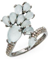 Bavna - Champagne Diamond, Aquamarine And Sterling Silver Ring - Lyst
