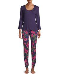 Betsey Johnson - Lace Heart Two-piece Pajama Set - Lyst