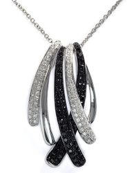 Effy - 14kt. White Gold Necklace With Black Diamond Pendant - Lyst