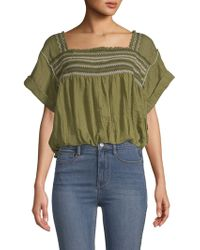 Free People - Skies Squareneck Woven Blouse - Lyst