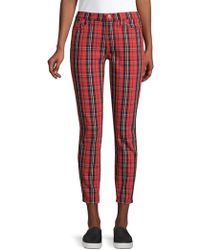 Current/Elliott - The Stiletto Plaid Cropped Jeans - Lyst