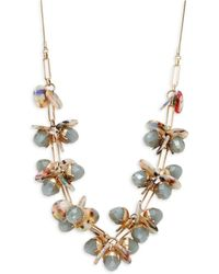Natasha Couture - Crystal Floral Disc Necklace - Lyst