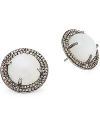 Bavna - Sterling Silver, White Moonstone & Diamond Stud Earrings - Lyst