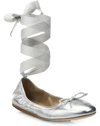 Saks Fifth Avenue - Metallic Leather Ankle-wrap Ballet Flats - Lyst