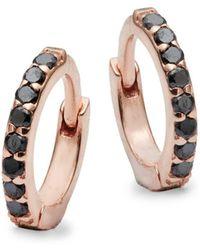 Danni - Pink Sapphire, Black Diamond And 14k Rose Gold Huggie Earrings - Lyst