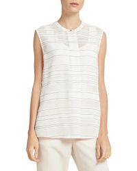 Donna Karan - Striped Sleeveless Henley Top - Lyst