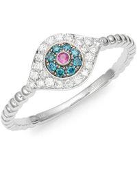 Effy - Ruby, White & Blue Diamond 14k White Gold Evil Eye Ring - Lyst