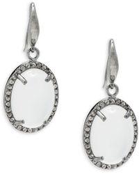 Bavna - Moonstone Champagne Diamonds Drop Earrings - Lyst