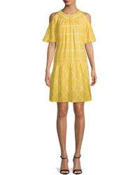 Moon River - Geometric Cold-shoulder Dress - Lyst