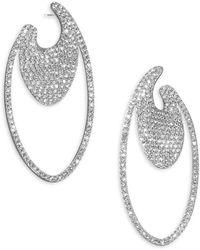Adriana Orsini - Pavé Oval Hoop Earrings - Lyst